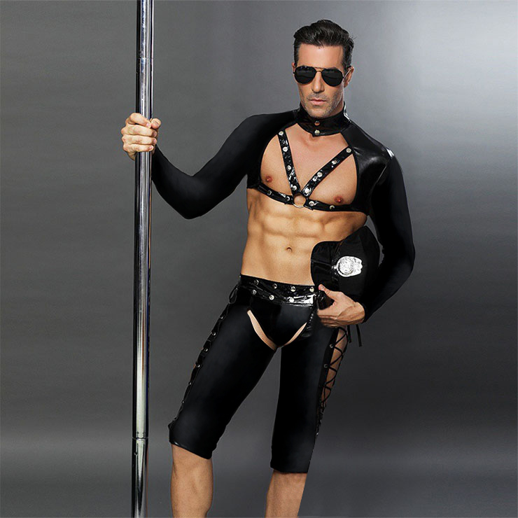 Mens Sexy Flirting Black Police Uniform Temptation Passion Cosplay Club PU Costume N18348