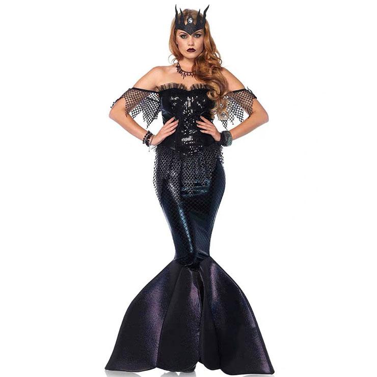 Sexy Dark Mermaid Queen Fishtail Dress Fairytale Cosplay Halloween Costume N19557