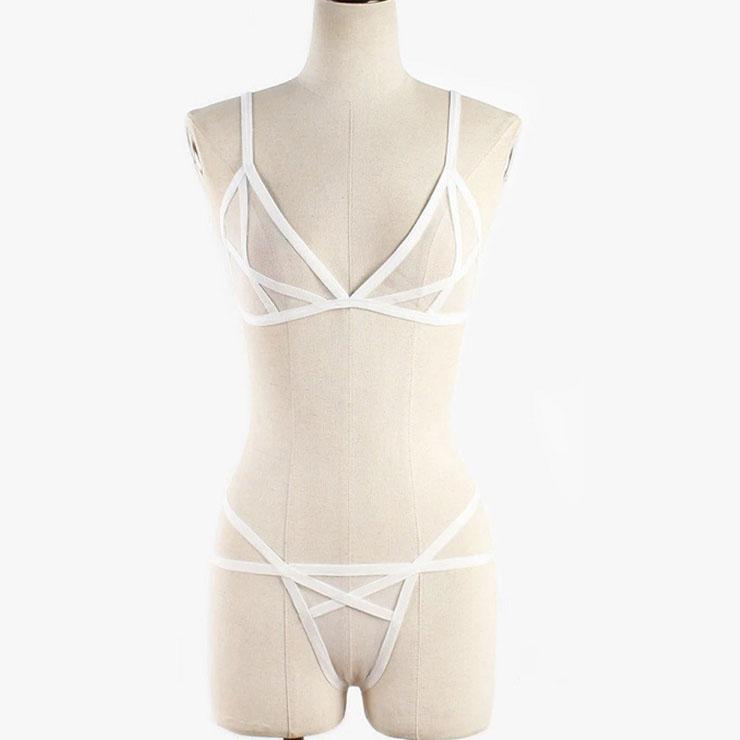 Sexy White Sheer Mesh Spaghetti Straps Bra and Panties Bandage Stretchy Lingerie Set N21322