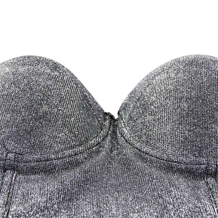 Sexy Metallic Bra Top, B Cup Bustier Bra, B Cup Bustier Bra for Women, Cool Punk Clubwear BraCrop Top, Gothic Metallic Crop Top, #N19965