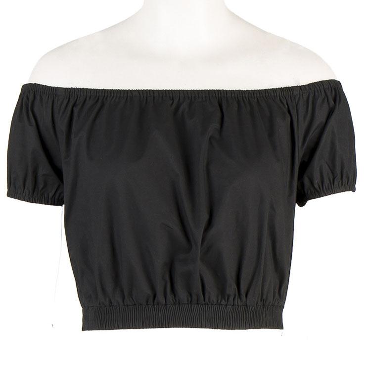 Sexy Black Short Sleeve Off Shoulder Crop Top N12185