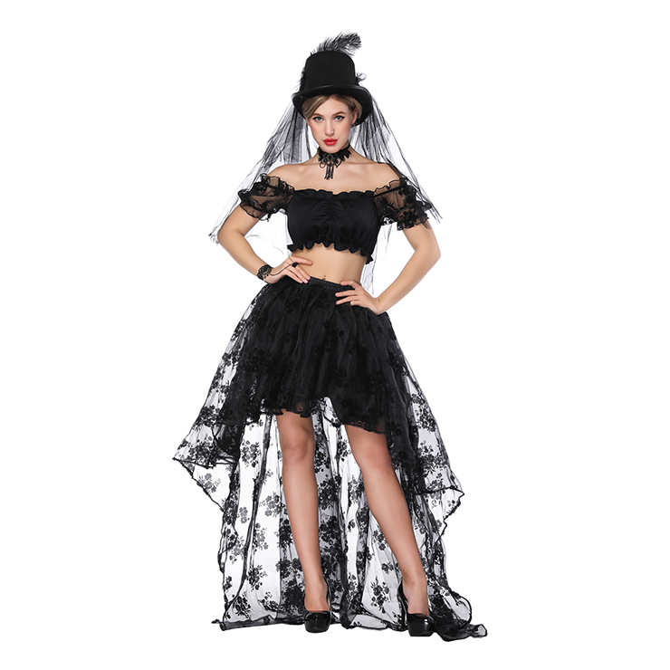 Women's Sexy Off Shoulder Ruffled Crop Top with High Waist Elastic High Low Skirt Sets N16173