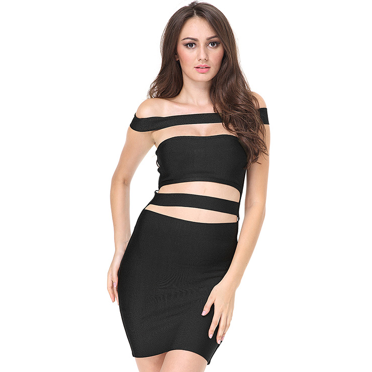 Women's Sexy Off Shoulder Cut Out Bodycon Bandage Party Dress N15130