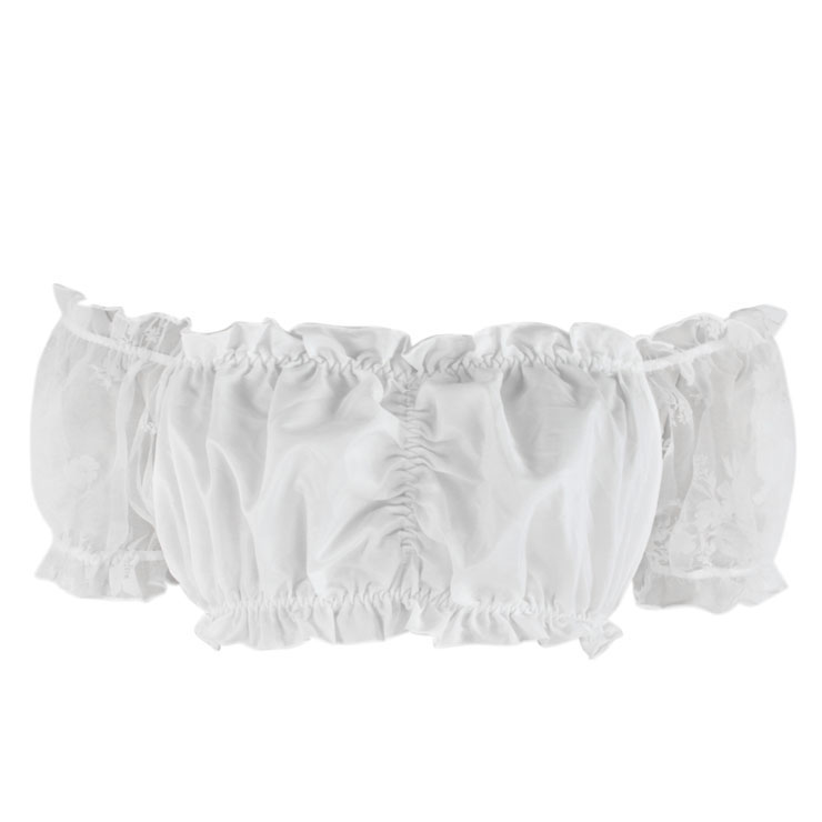 Sexy White Organza Off Shoulder Ruched Ruffled Crop Top N17456