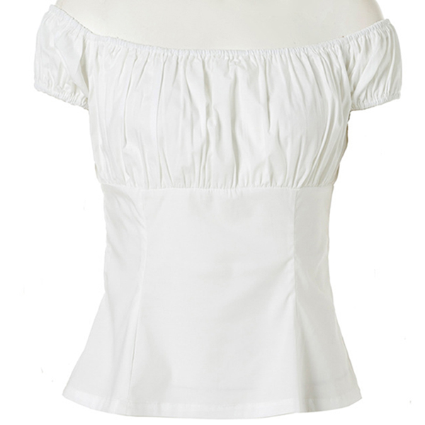 Sexy White Short Sleeve Off Shoulder T-shirt N11861