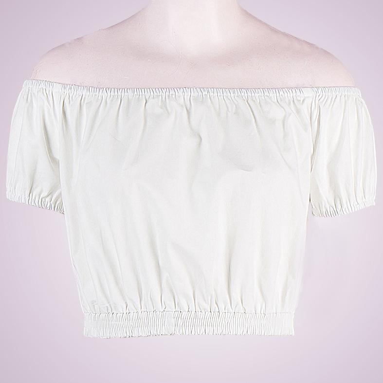 Sexy White Short Sleeve Off Shoulder Crop Top N12184
