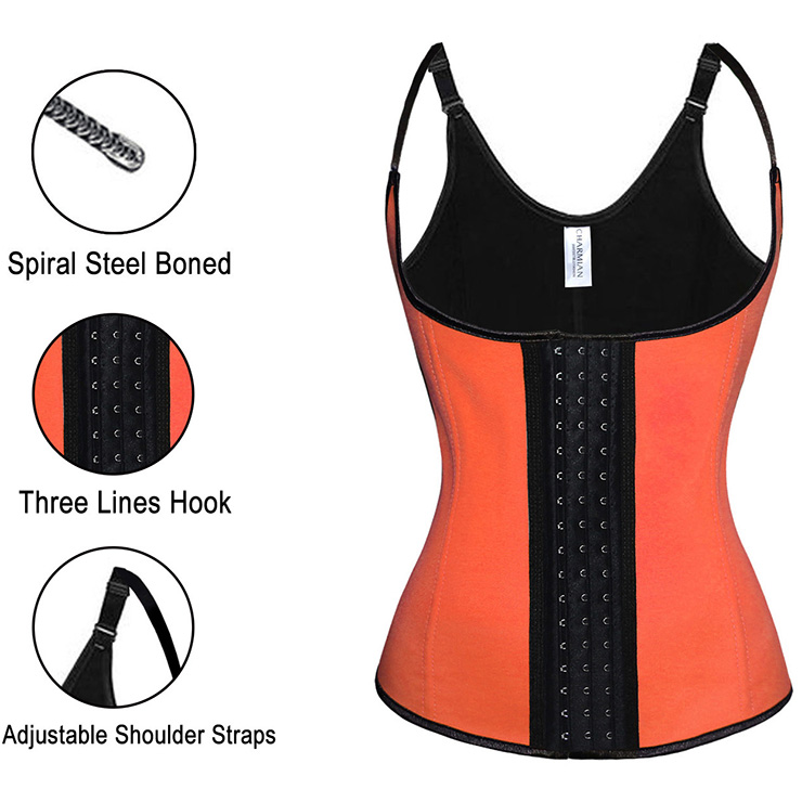 Steel Bone Vest Corset, Latex Underbust Corset, Orange Underbust Corset, Women