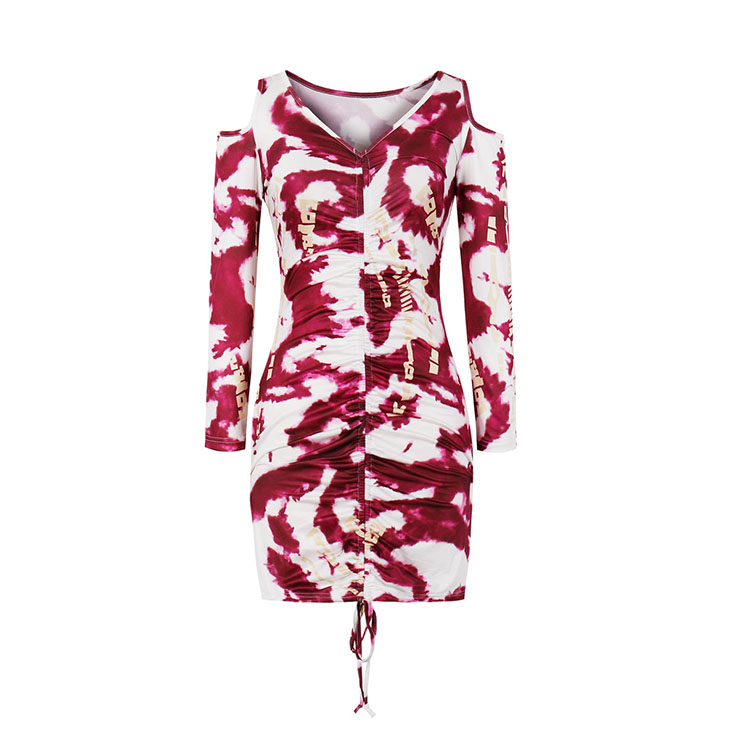 Sexy Tie-dye Print V Neck Off Shoulder Long Sleeve Drawstring Folds Package Hip Mini Dress N20790