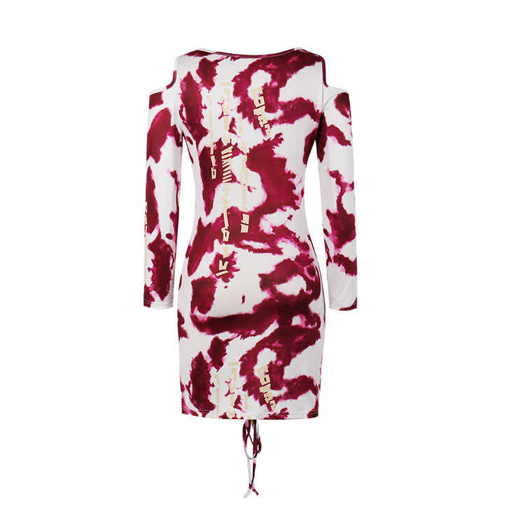 Sexy Dress for Women,Elegant Party Dress,Round Neck Mini Dress,Sexy Mini Dresses for Women Cocktail Party,Long Sleeves High Waist Package Hip Dress,Wine-red Tie-dye Package Hip Mini Dress, #N20790