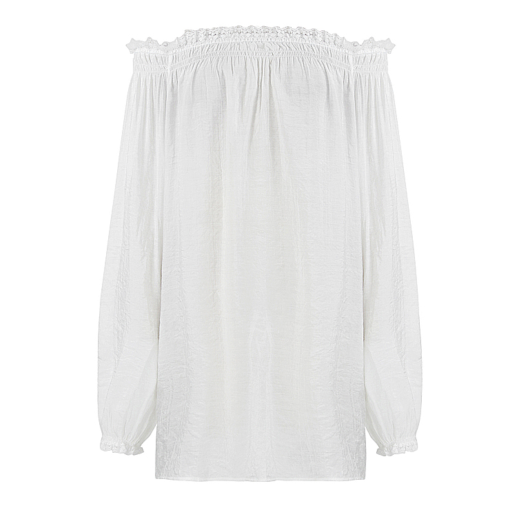 Sexy Peasant Ruffle Long Sleeve Off Shoulder Blouse N11858