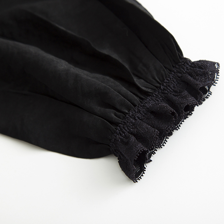 Elastic Black Shirt, Cotton Blouse, Babydoll Dress, Lace Blouse, Crop Top, Victorian Blouse, Sexy Tonic, Sexy Off the Shoulder Blouse, #N14782