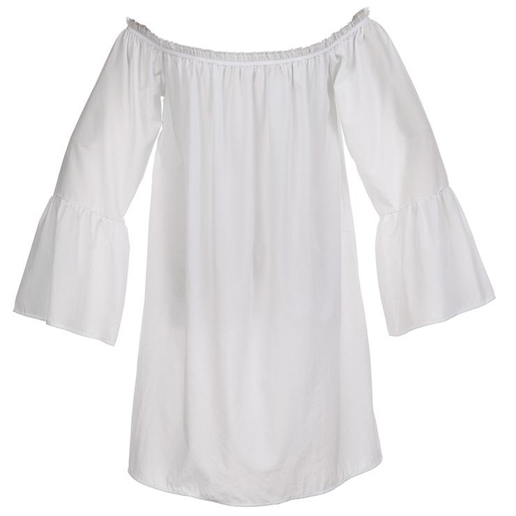 Elastic White Shirt, Cotton Blouse, Long Blouse Top, Cotton Blouse, Victorian Blouse, Sexy Tonic, Sexy Off the Shoulder Blouse, #N15316
