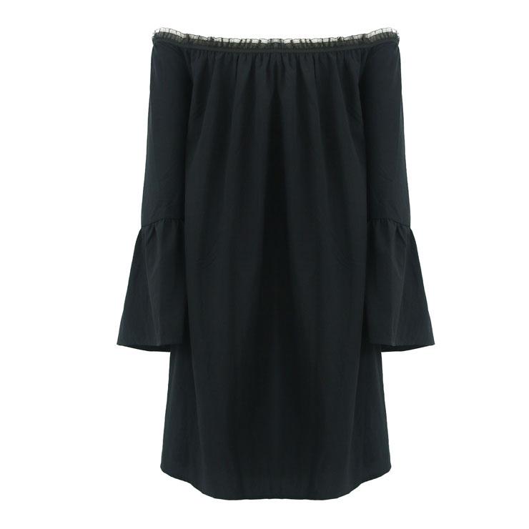 Elastic Black Shirt, Cotton Blouse, Long Blouse Top, Cotton Blouse, Victorian Blouse, Sexy Tonic, Sexy Off the Shoulder Blouse, #N15317