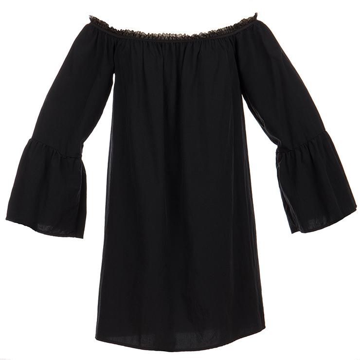 Sexy Black Ruffled Off Shoulder Long Sleeve Blouse Top Mini Dress N15317