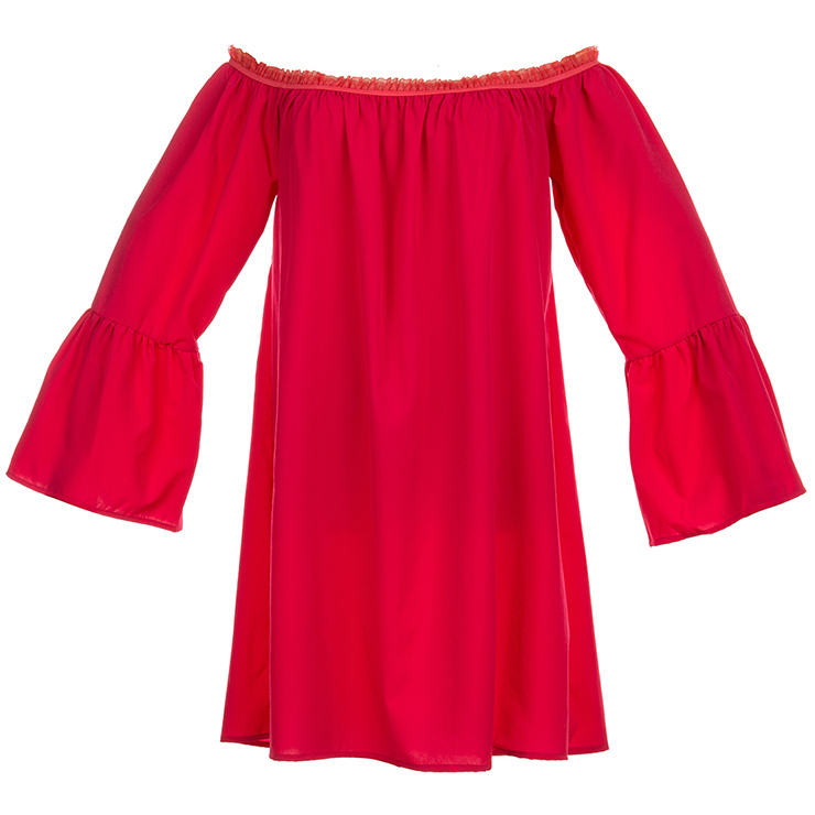 Sexy Red Ruffled Off Shoulder Long Sleeve Blouse Top Mini Dress N15318