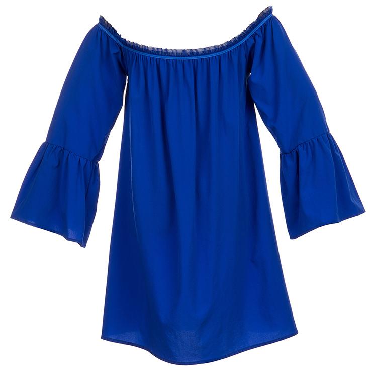Elastic Blue Shirt, Cotton Blouse, Long Blouse Top, Cotton Blouse, Victorian Blouse, Sexy Tonic, Sexy Off the Shoulder Blouse, #N15319