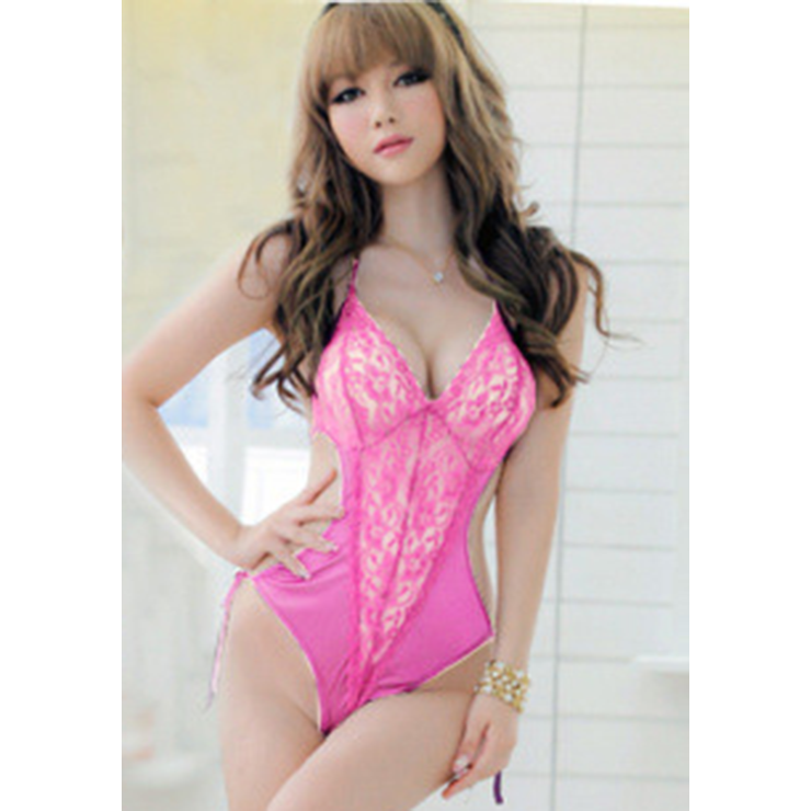 c1b30c40bec8d Sexy Pink Halter Backless Lace Splicing Bodysuit Teddy Lingerie N17406