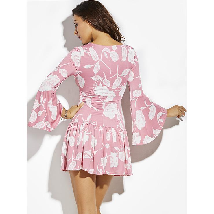 Asymmetric Dress, Sexy Mini Dress, Pink Dress for Women, A-Line V-Neck Dress, Irregular Sexy Dress, #N14379