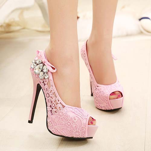 Sexy Pink Diamond Peep Toe Lace High-heeled Shoes SWS20179
