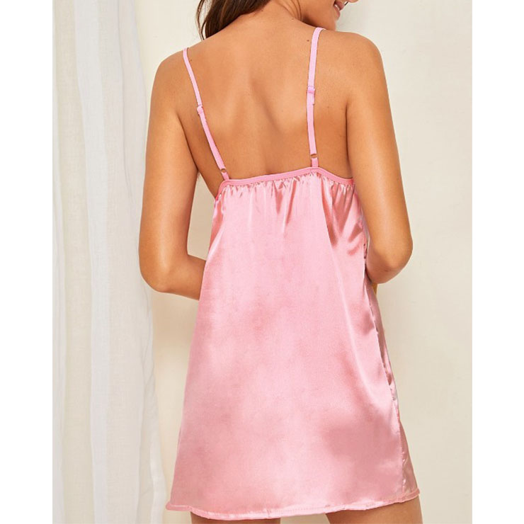 Spaghetti Strap V Neck Babydoll Lingerie, Sexy Pink Nightwear, Fashion Spaghetti Strap Satin Babydoll Lingerie, Valentine