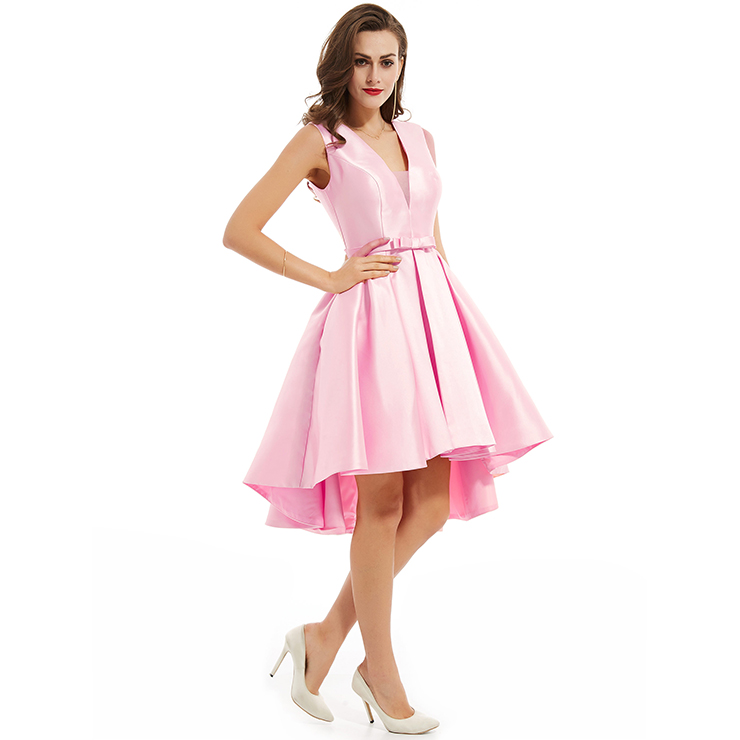 Women S Sexy Pink Sleeveless V Neck Bowknot A Line High Low Homecoming Dress N15844,Casual Plus Size Wedding Dresses With Color
