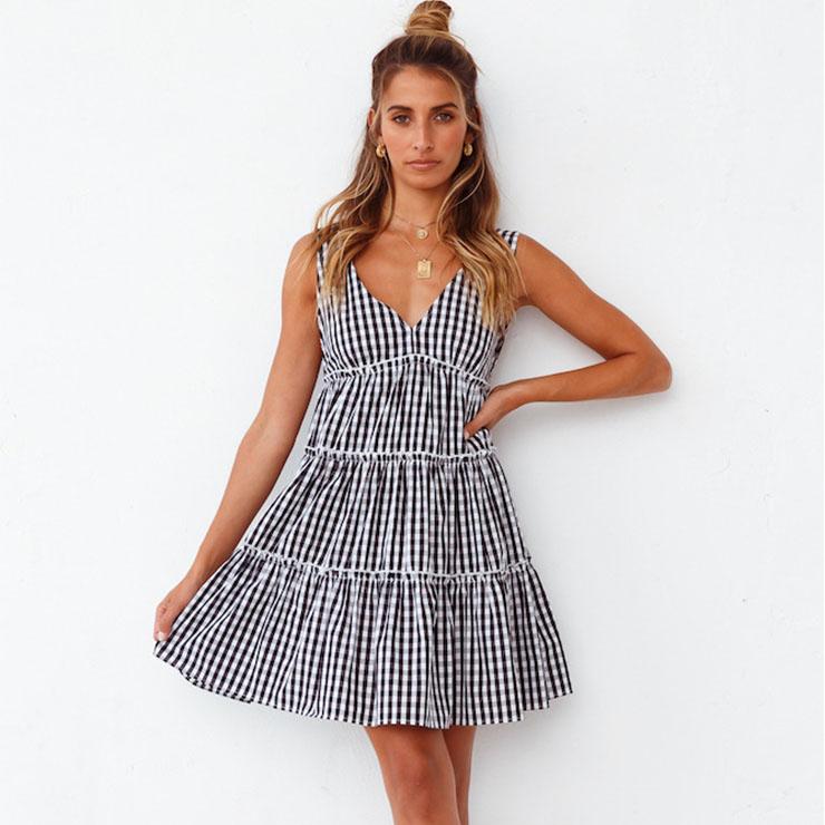 Sexy Plaid Pattern Print Deep V Neck Sleeveless Backless High Waist Ruffles Swing Vest Dress N21107