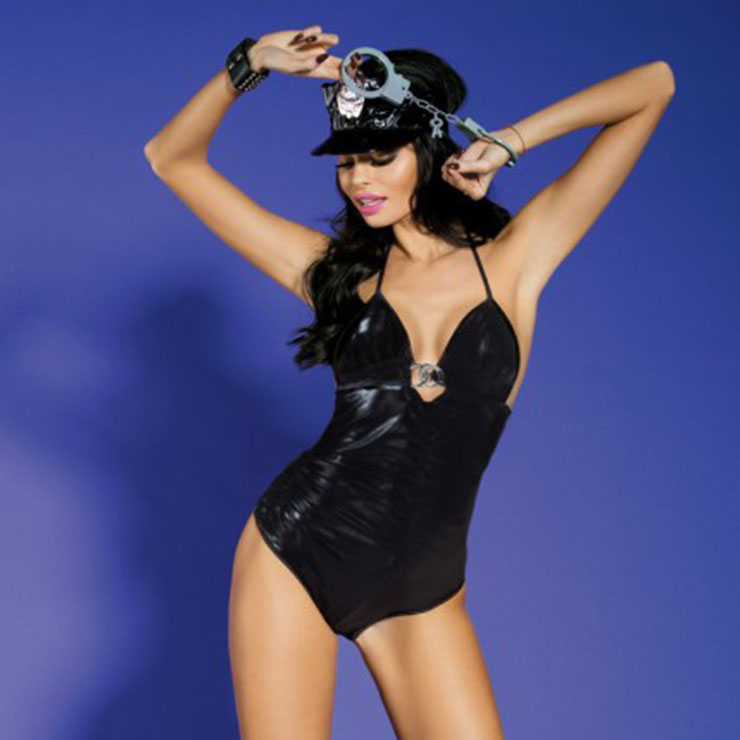 Sexy Policewoman Uniform Stretchy Bodysuit Adult Club Pole-dancing Cop Cosplay Costume N19705