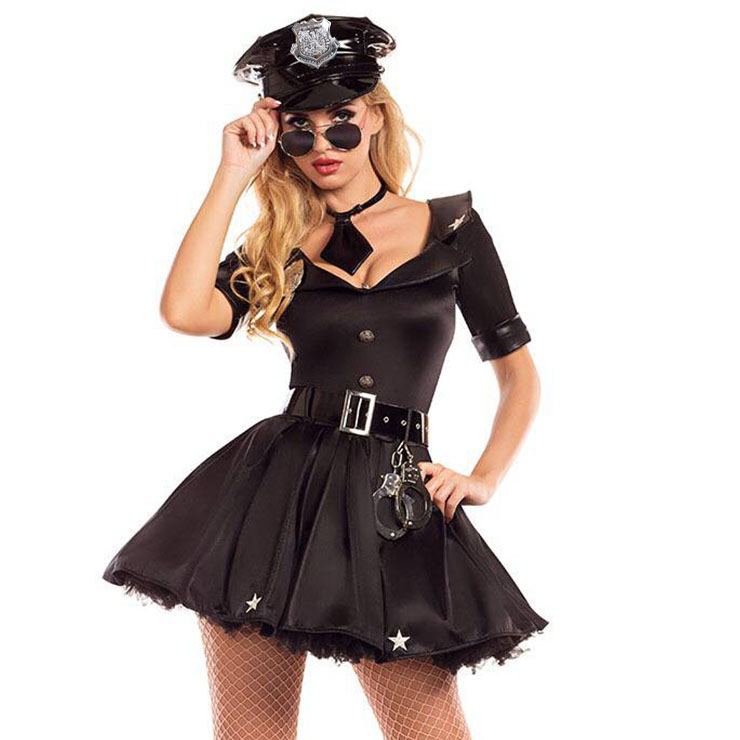 Sexy Policewoman Uniform Adult Role Play Cop Cosplay Costume N18180