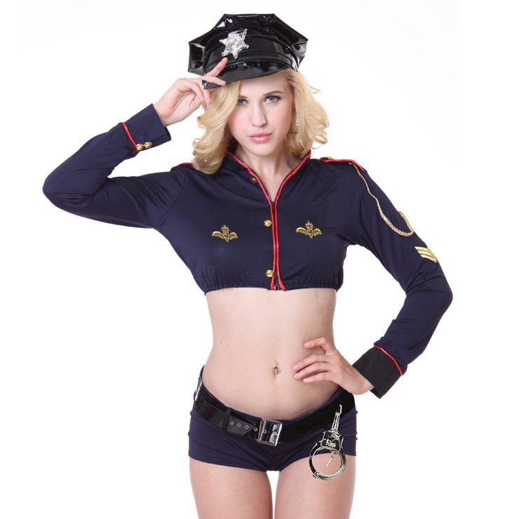 Sexy Policewoman Uniform Adult Crop Top and Shorts Set Cop Cosplay Costume N18248