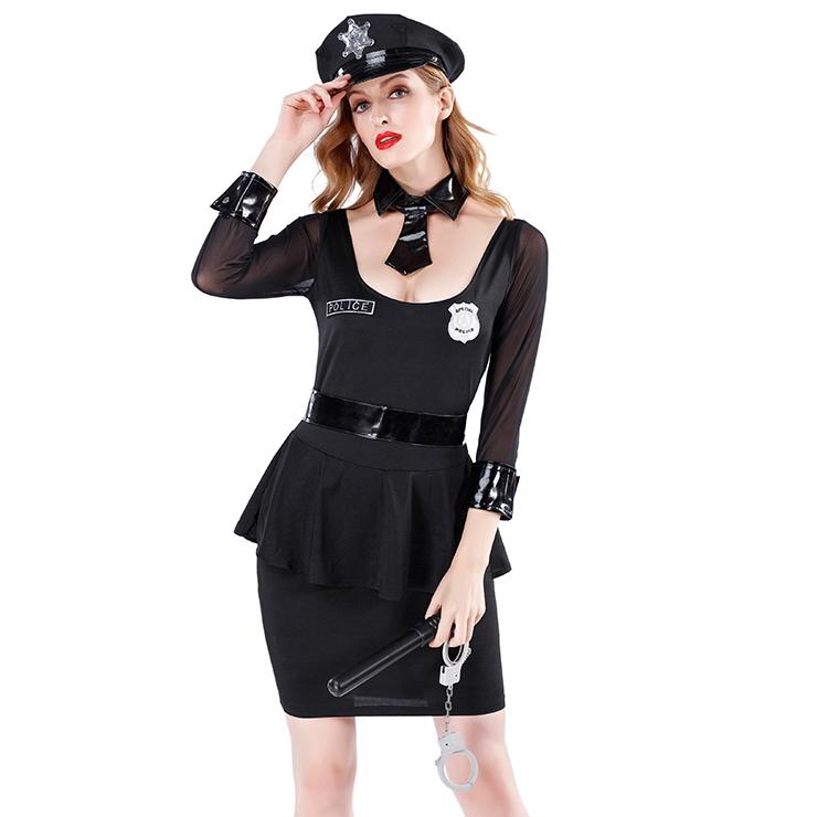 6pcs Sexy Policewoman Uniform Adult Cop Peplum  Mini Dress Halloween Costume Set N19465