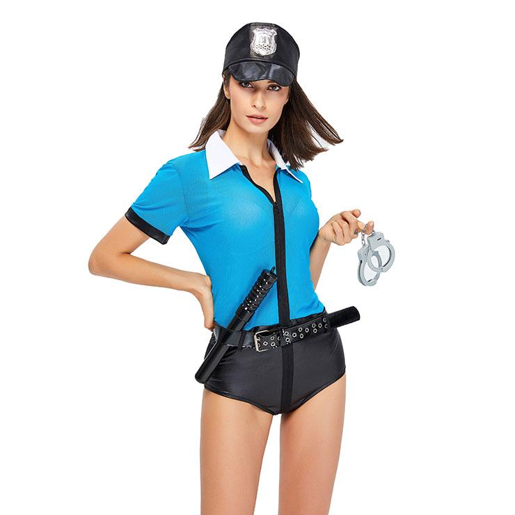 5Pcs Sexy Policewoman Uniform Adult Jumpsuit Set Cops Cosplay Costume N20604