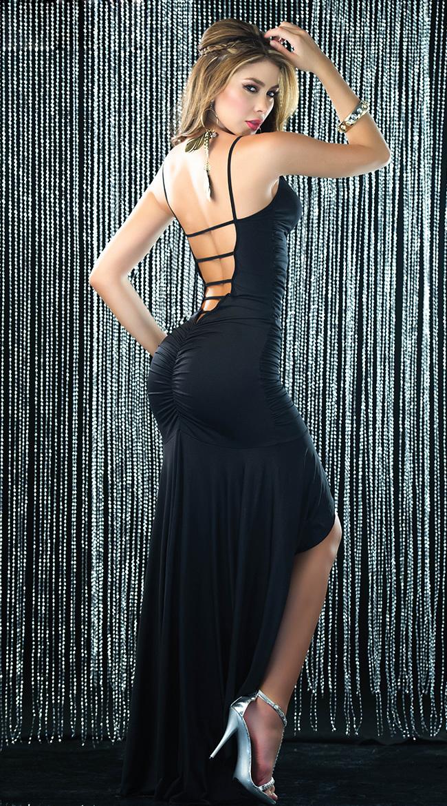 Sexy Pucker Gown, Long Black Gown, Long Gown, #N5372
