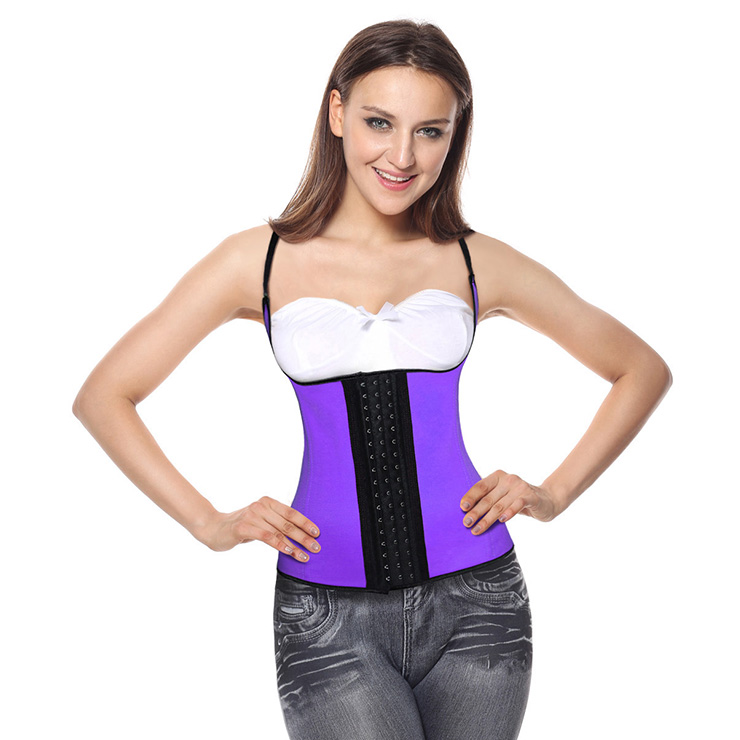 Steel Bone Vest Corset, Latex Underbust Corset, Purple Underbust Corset, Women