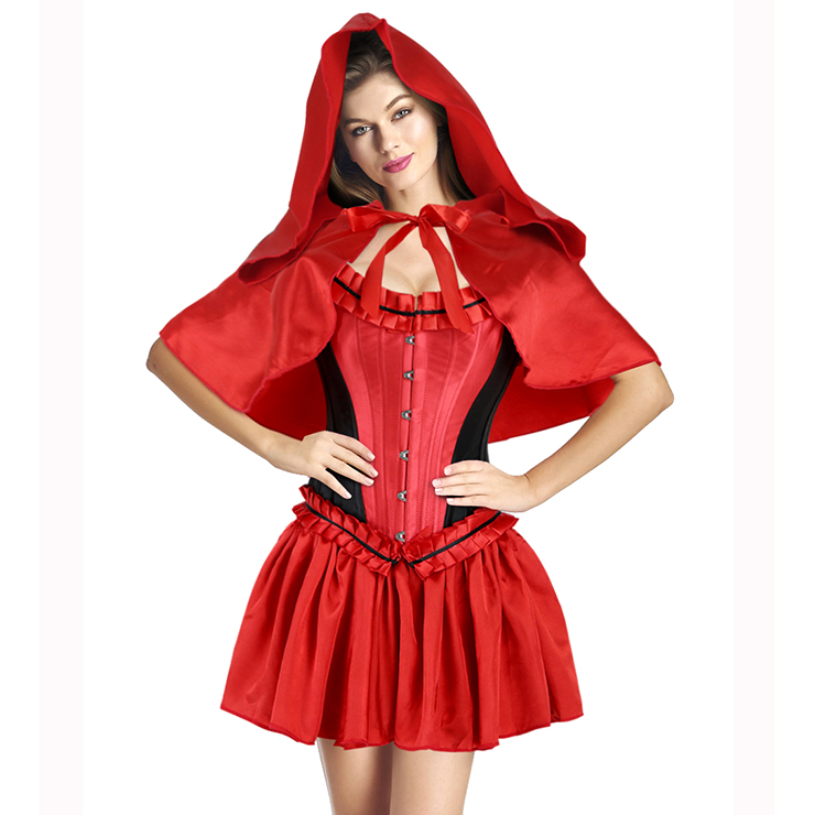 S826088Sexy Luxury Red Black Riding Hood Costume N9947