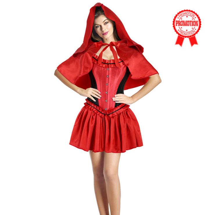 Sexy Luxury Red Black Riding Hood Costume N9947
