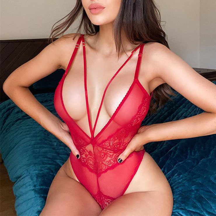 Sexy Red See-through Spaghetti Straps Hollow Low Cut One Piece Bodysuit Teddies Lingerie N20850