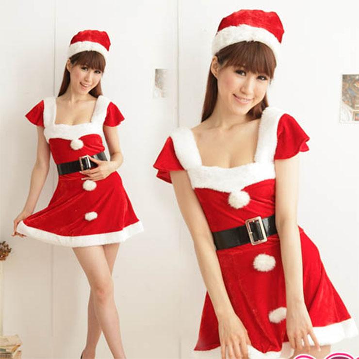 Sexy Women's Red Christmas Square Neckline Ruffle Sleeves Velvet Mini Dress XT18628