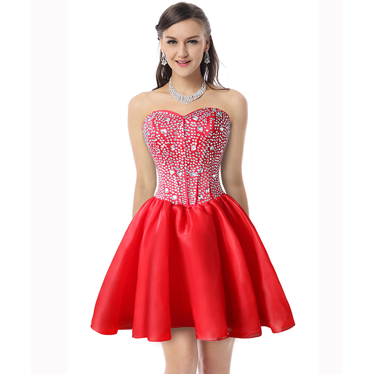 Sexy Red A-line Sweetheart-neck Crystal Short/Mini Cocktail/Prom Dresses Y30090