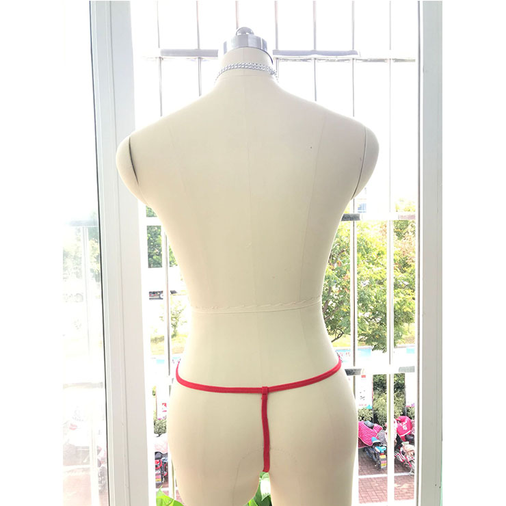 Sexy Red Low Waist Thong, Sexy Lace G-string for Women, Red Elastic Lace Thong, Red Lace Panty, Sexy Halter Chain Thong, Sexy Red Lace Panty, Red See-through Thong, #PT20853