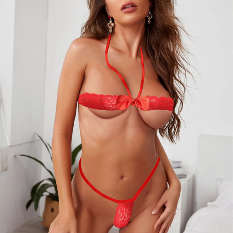 Sexy Red Halter Stretchy Bandage Bow-knot Bra Lingerie Set N20780