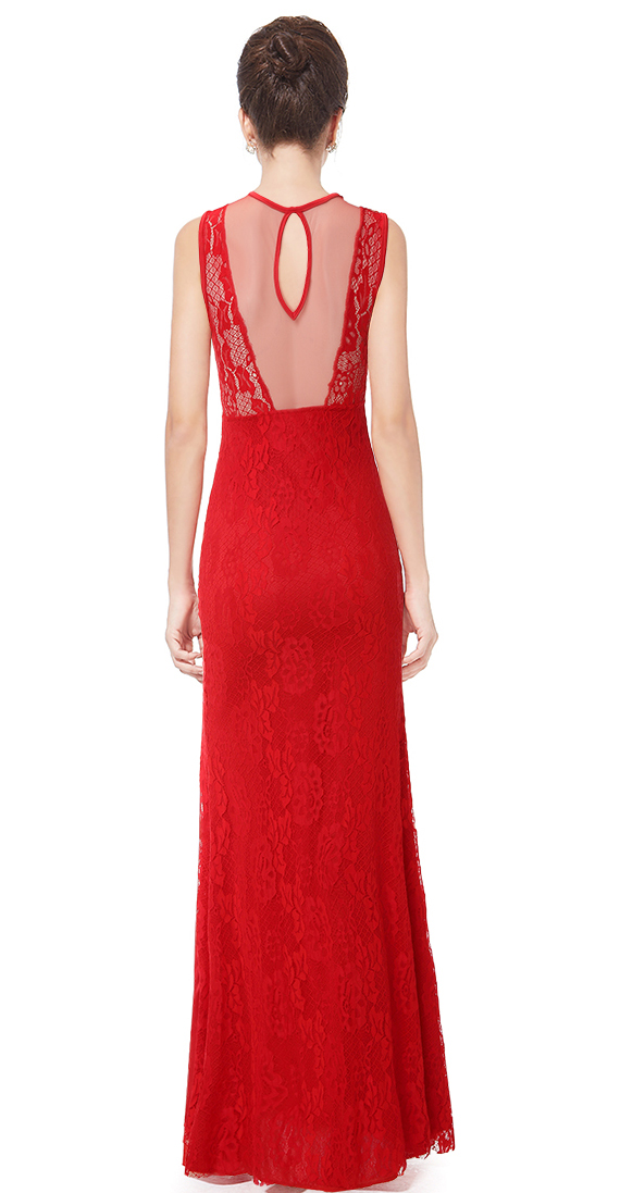 Sexy Red Lace Sleeveless Long Formal Evening Gown N11127