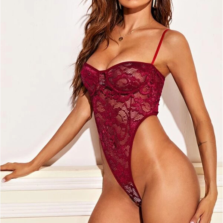 Sexy Red See-through Floral Lace Spaghetti Straps Stretchy Bodysuit Teddy Lingerie N20751