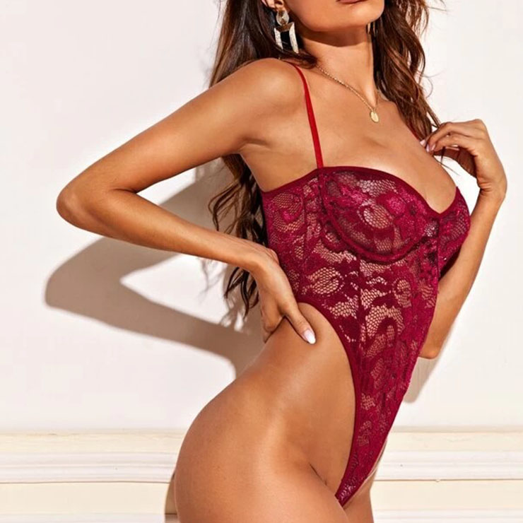 Sleepwear Bodysuit for Women, Sexy Red Floral Lace Lingerie, Cheap Romper Lingerie for Women, Sexy Valentines Lingerie, Stretchy See-through Bodysuit Lingerie,Red Halter Bodysuit Floral Lace, #N20751