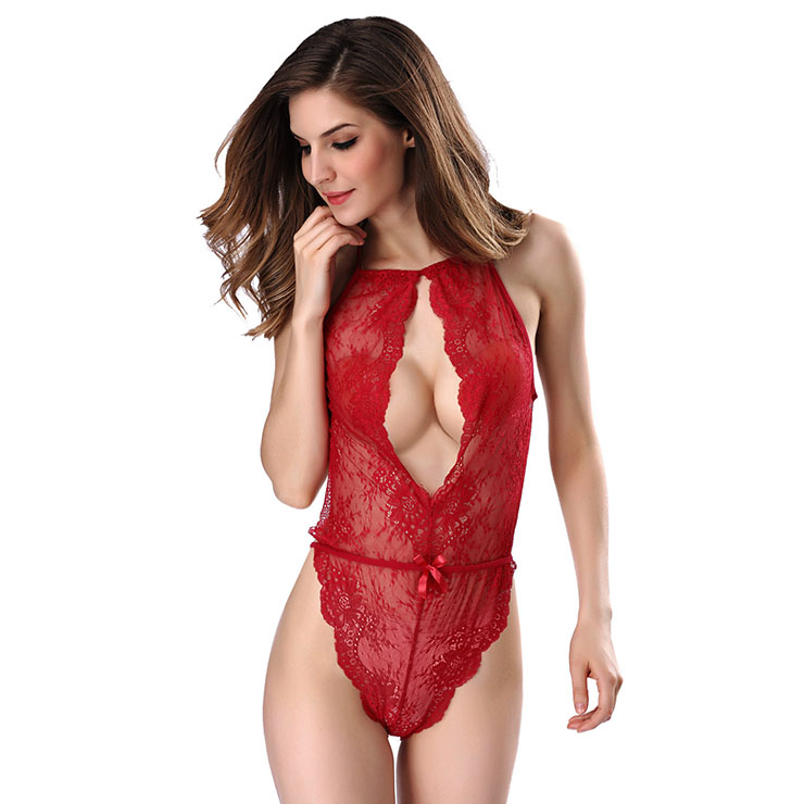 Sexy Red See-through Floral Lace High Waist Bodysuit Teddy Lingerie N16505 0d524e829