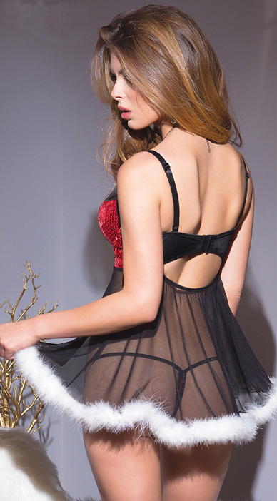 5a354a09dc0b2 Sexy Red Sequins Bra Split Joint Mesh Babydoll Lingerie N9807