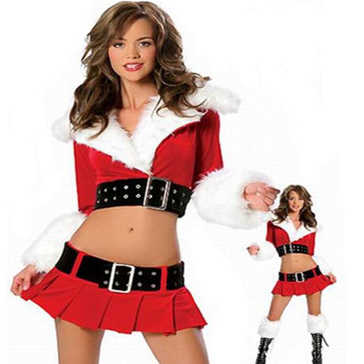 Women's Sexy Red Velvet Crop Top Split Long Sleeves Hooded Mini Skirt Set Christmas Costume XT18629