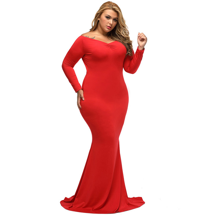a799714e932 Sexy V Neck Long Sleeve Evening Party Fishtail Plus Size Maxi Dress N14456