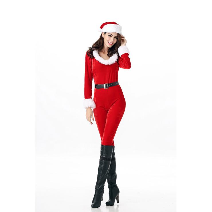Sexy Santa Bodysuit Cosumte, Mrs Santa Clause Costume, Miss Santa Costume, Xmas Costume, #XT12253