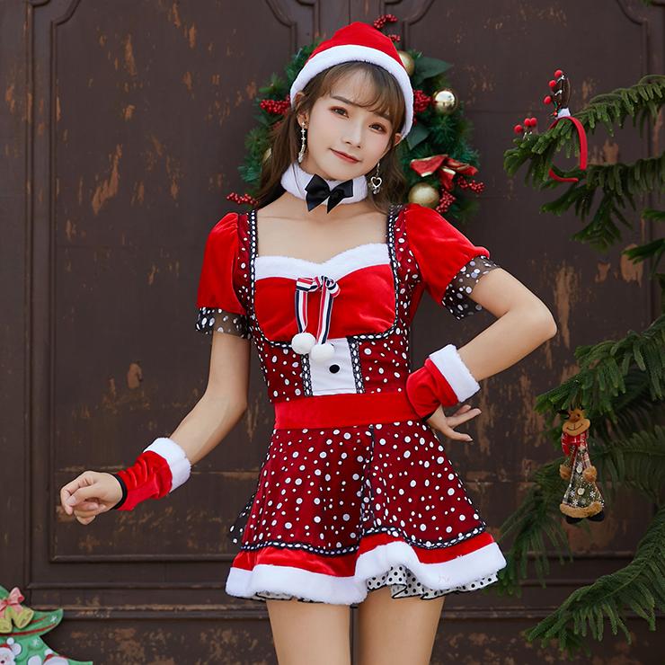 Women's Lovely Santa Girl Puff Sleeve Snow Print Mini Dress Christmas Costume XT19995