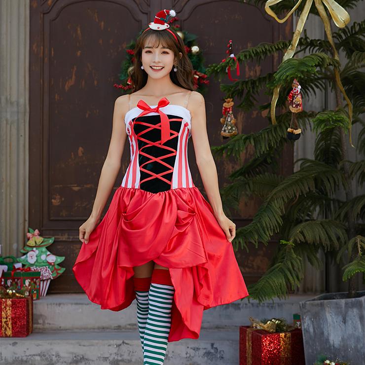 Women's Sexy Santa Girl Strapless Asymmetrical Mini Dress Christmas Costume XT19996